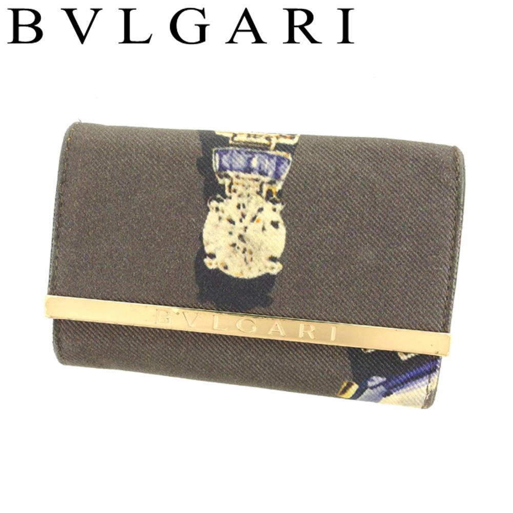 【中古】 ブルガリ キーケース 6連キーケース ジュエルプリント ブラウン ゴールド系 キャンバス×レザー32824BVLGARI レディース プレゼント 贈リ物 1点物 人気 良品 夏 オシャレ 大人 在庫処分 ファッション F1387
