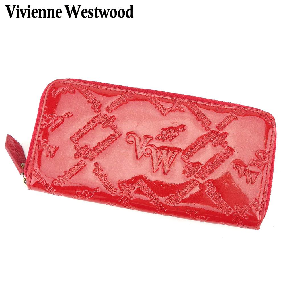 【中古】 ヴィヴィアン ウエストウッド Vivienne Westwood 長財布 ラウンドファスナー レディース  レッド エナメルレザー 人気 セール I523 .