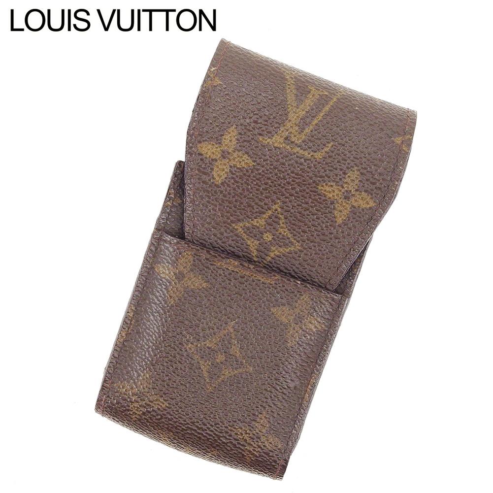 【中古】 ルイ ヴィトン Louis Vuitton シガレットケース タバコケース レディース メンズ エテュイシガレット モノグラム ブラウンブラウン モノグラムキャンバス 人気 セール I528 .