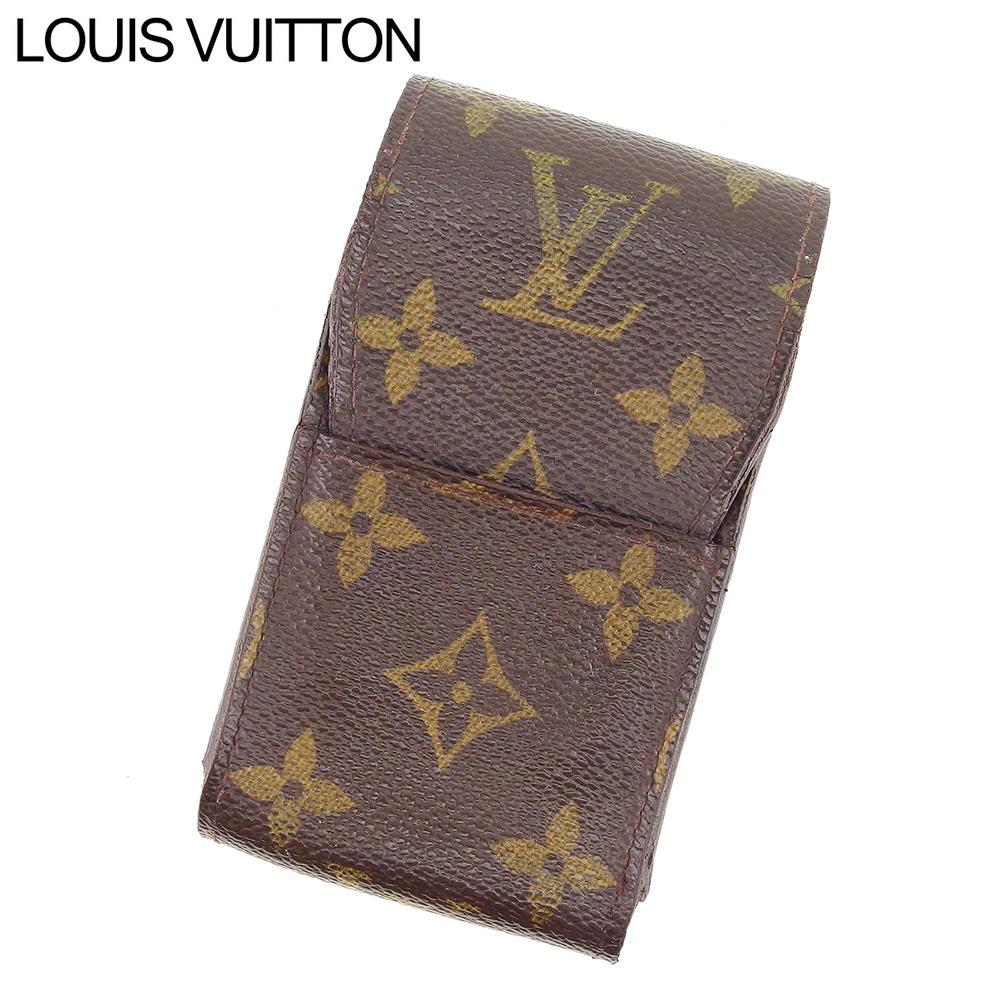 【中古】 ルイ ヴィトン Louis Vuitton シガレットケース タバコケース レディース メンズ エテュイシガレット モノグラム ブラウン モノグラムキャンバス 人気 セール I547 .