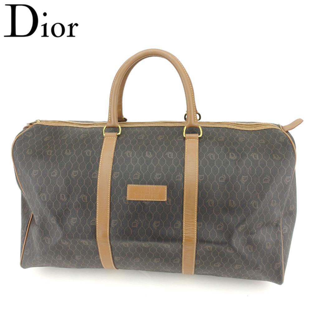 【中古】 ディオール Dior ボストンバッグ トラベルバッグ 旅行用バッグ レディース メンズ オールドディオール ロゴ柄 ブラック ブラウン ゴールド PVC×レザー ヴィンテージ 良品 T8174 .