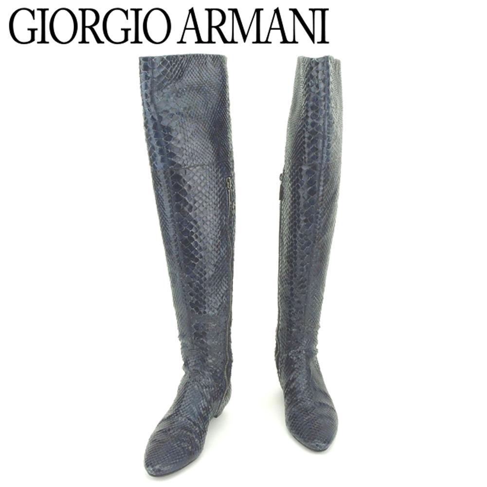 【中古】 ジョルジオ アルマーニ GIORGIO ARMANI ブーツ シューズ 靴 レディース ♯35 サイハイ インヒール入り パイソン ネイビー ブラック パイソンレザー 人気 良品 T8184