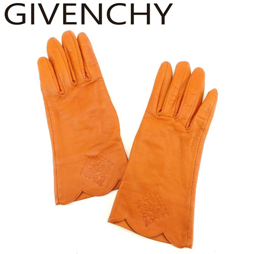 【中古】 ジバンシィ GIVENCHY 手袋 グローブ レディース 4Gロゴ オレンジ レザー 人気 良品 T8197 .