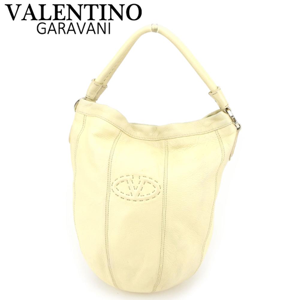 【中古】 ヴァレンティノ ガラヴァーニ VALENTINO GARAVANI ハンドバッグ バッグ レディース メンズ Vマーク ベージュ ブラウン シルバー レザー 人気 セール T8207 .