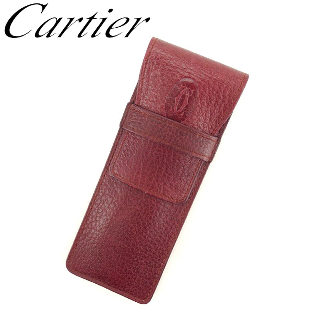 【中古】 カルティエ Cartier ペンケース ケース レディース メンズ マストライン ボルドー レザー 人気 良品 T8212 .