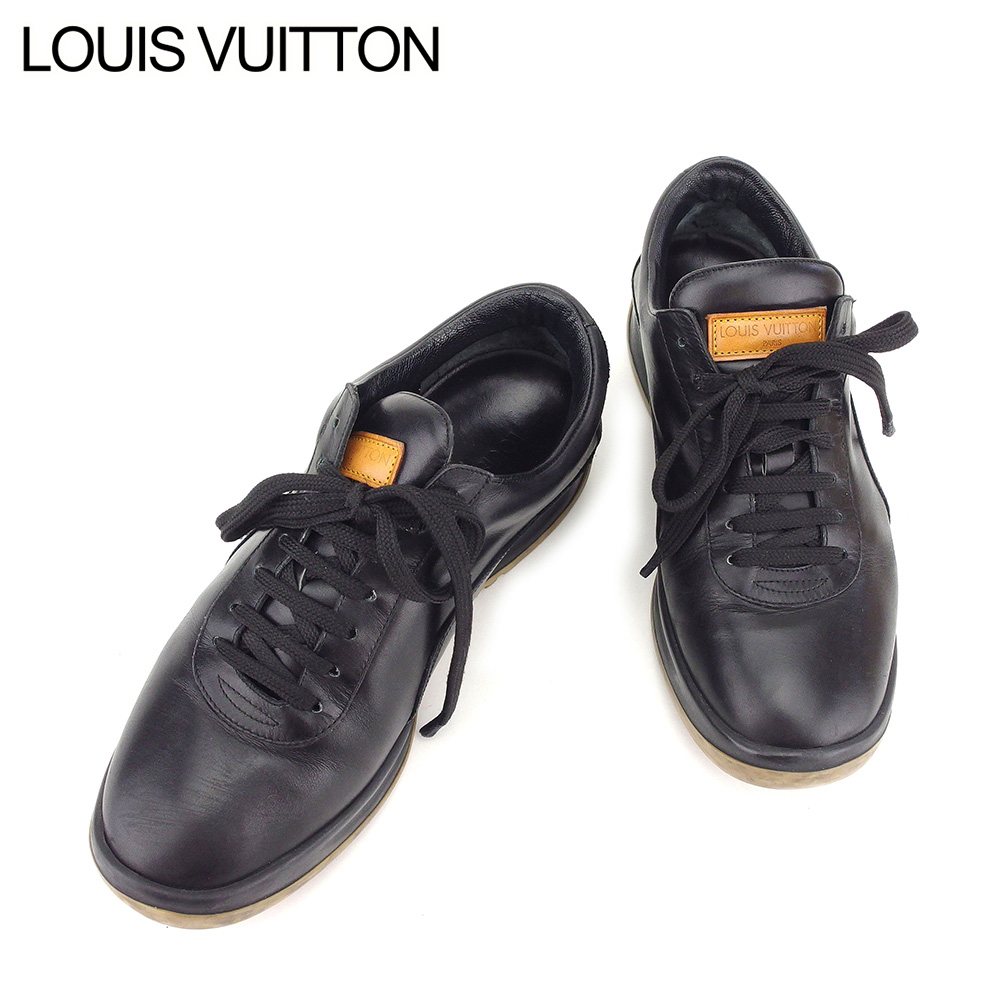 c46ef29c76d8 Louis Vuitton LOUIS VUITTON sneakers shoes shoes Lady s men  37 black  leather beauty product sale T8578