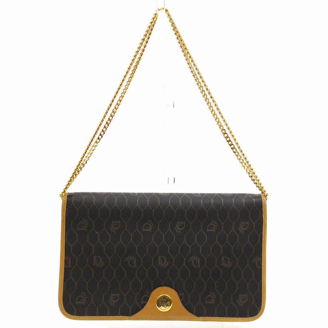 【中古】 ディオール Dior ショルダーバッグ チェーンショルダー レディース ロゴ柄 ブラック×ベージュ×ゴールド U140