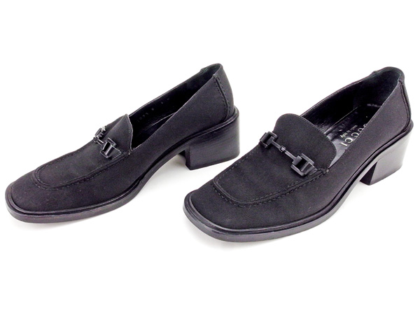890e78b6e ... Gucci GUCCI loafer shoes shoes Lady's ♯ 6B square toe hose bit black  canvas X leather ...