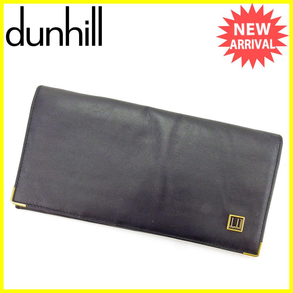 【中古】 【送料無料】 ダンヒル ジップ長財布 二つ折り 財布 長財布 ブラック C2943s