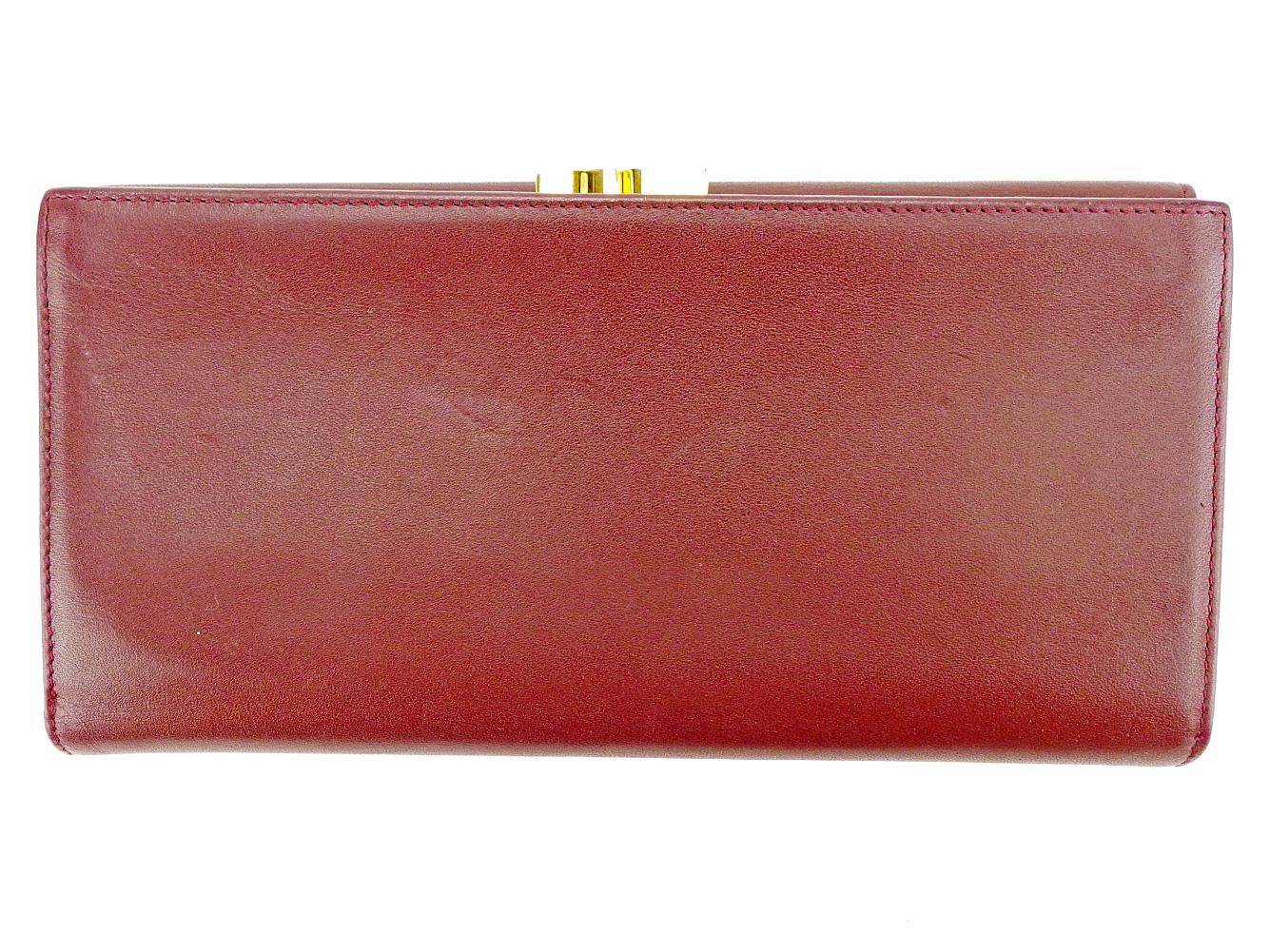 126560693357 【中古】 カルティエ Cartier 長財布 財布 がま口 三つ折り レディース メンズ 可 マストライン ボルドー×ゴールド レザー 良品 S561  . 【送料無料】-その他