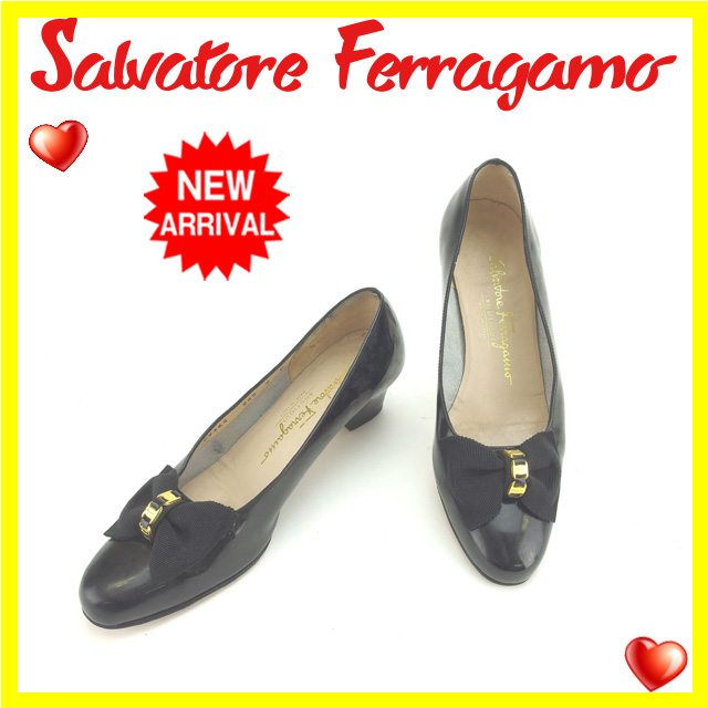 【中古】 【送料無料】 サルヴァトーレ フェラガモ Salvatore Ferragamo パンプス #6C レディース ヴァラリボン ブラック×ゴールド Q131