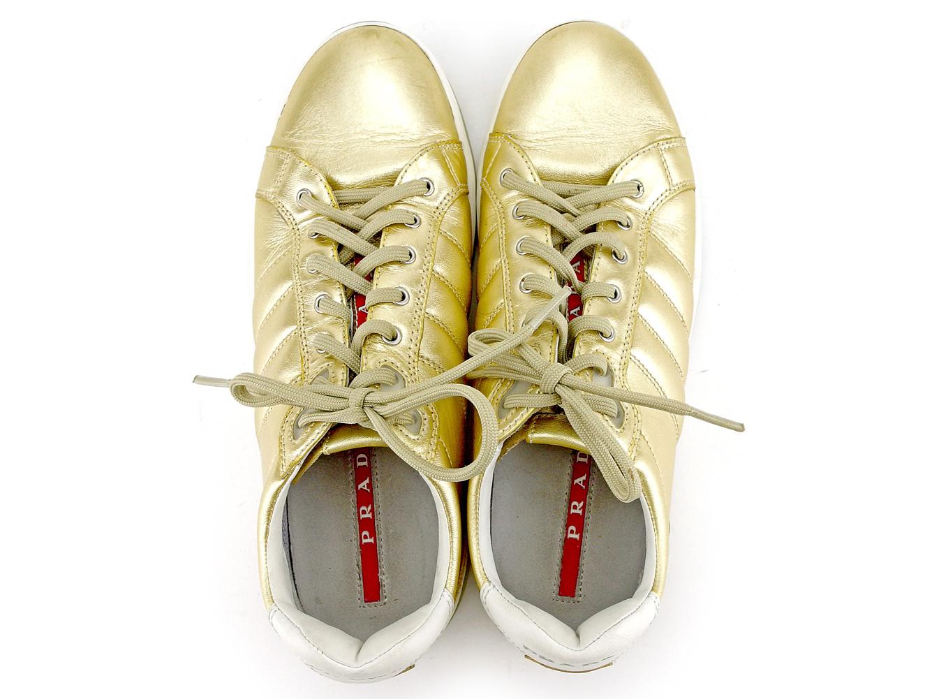 cda176ffce112 ... Prada PRADA sneakers shoes shoes Lady's ♯ 37.5 low-frequency cut sports  Rhein Gold white ...