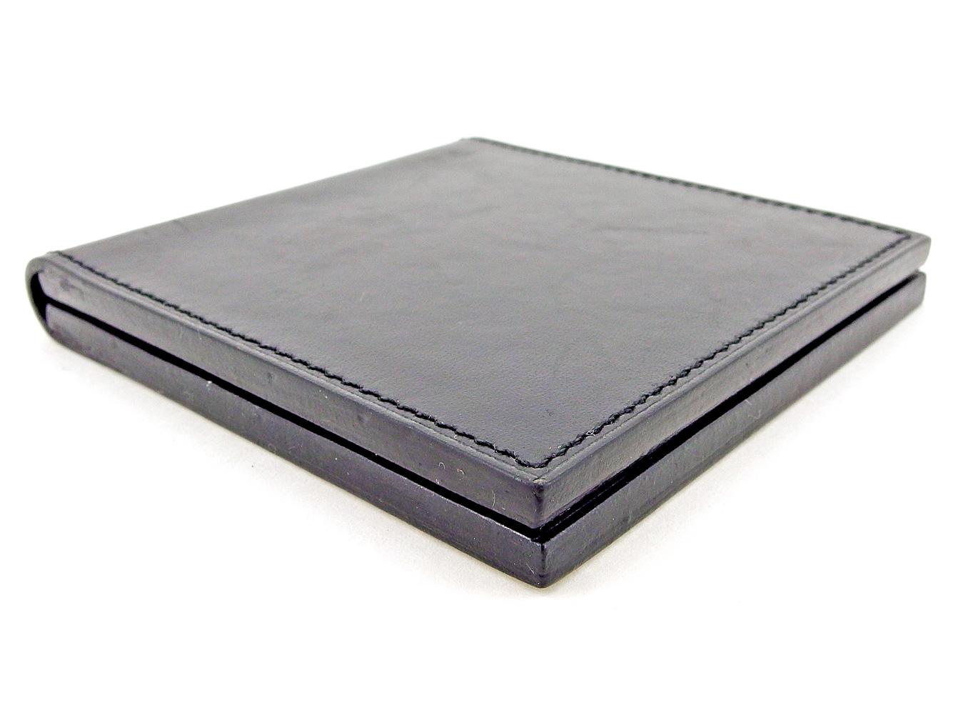 24f9b84311b3 ... レディース メンズ 可 ダブルミラー ブラック レザー 人気 T5194   人気 エルメス コンパクトミラー ダブルミラー ...