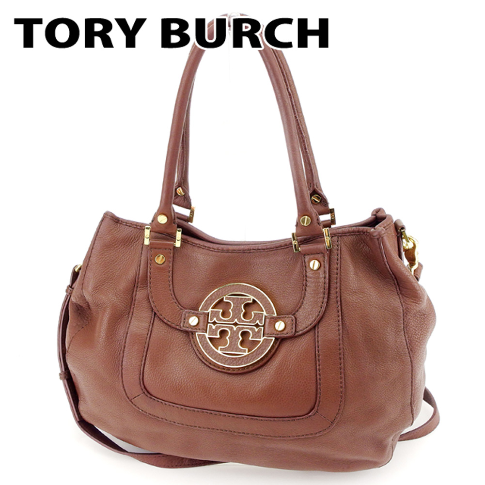 d6664b4c0b7 Tolly Birch Tory Burch shoulder bag 2WAY shoulder Lady s logogriph brown  leather popularity sale D1846