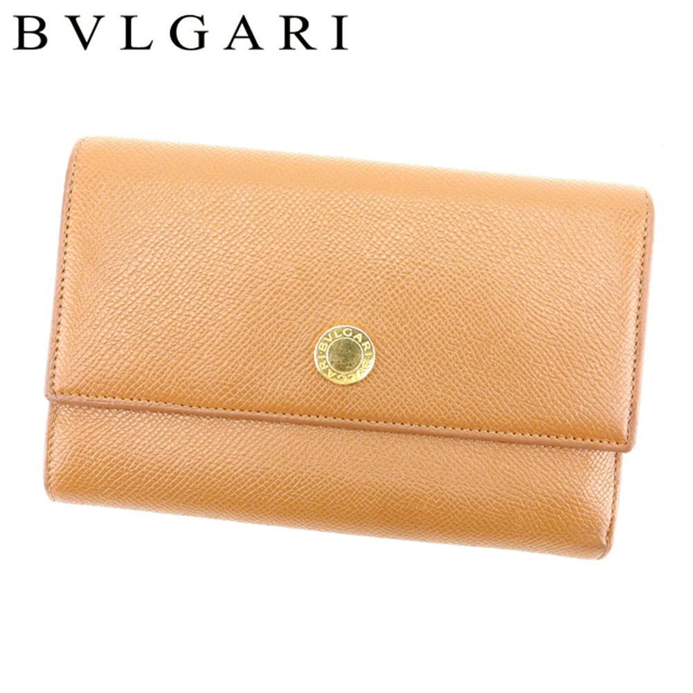 【中古】 ブルガリ BVLGARI 三つ折り 財布 レディース メンズ 可 ブルガリブルガリ ライトブラウン レザー三つ折り 財布 D1849s .