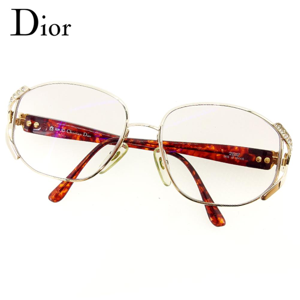 【中古】 ディオール Dior メガネ 度入り サングラス レディース ラインストーン ゴールド ブラウン 人気 セール D1856 .