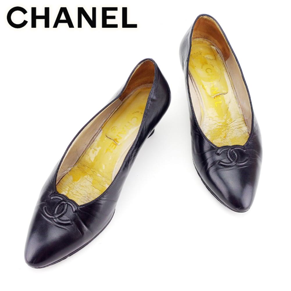 【中古】 シャネル CHANEL パンプス シューズ 靴 レディース #36ハーフ ココマーク ブラック レザー 人気 セール D1860