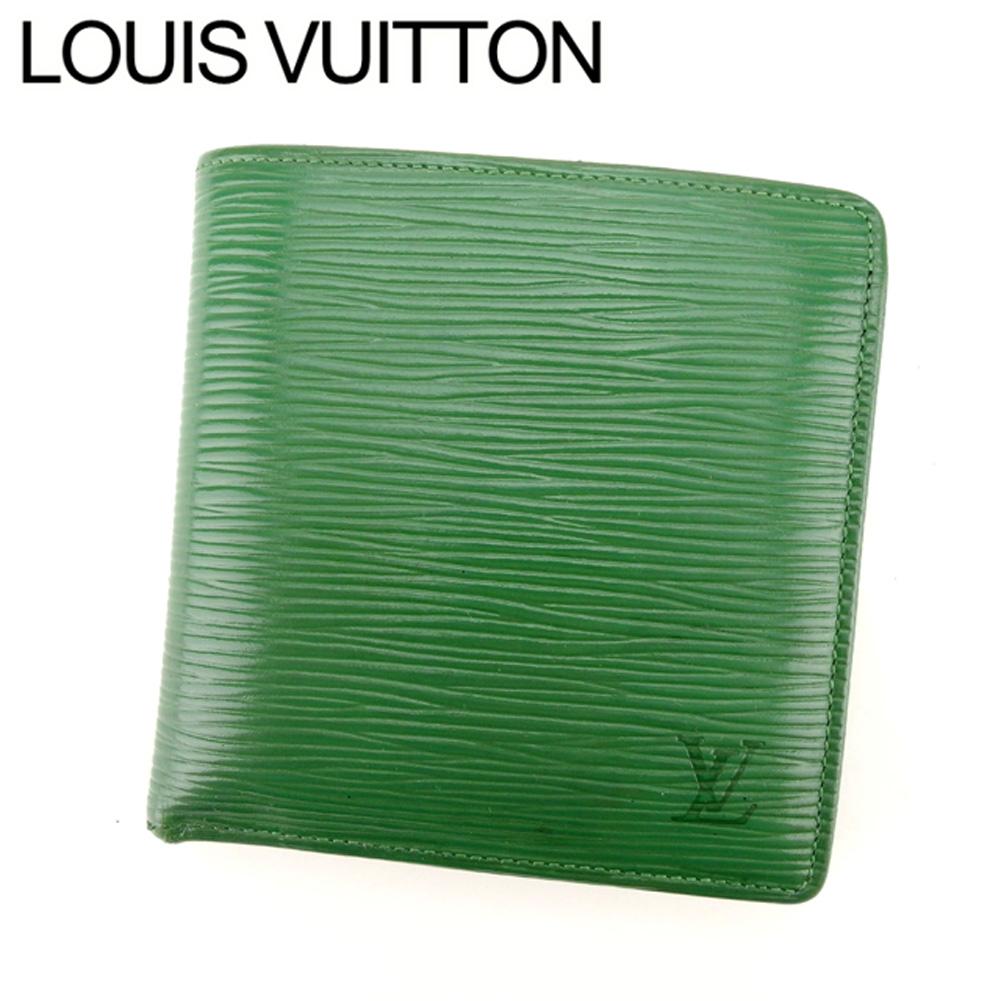 【中古】 ルイ ヴィトン Louis Vuitton 二つ折り 財布 メンズ可 エピ グリーン エピレザー二つ折り 財布 E1228s