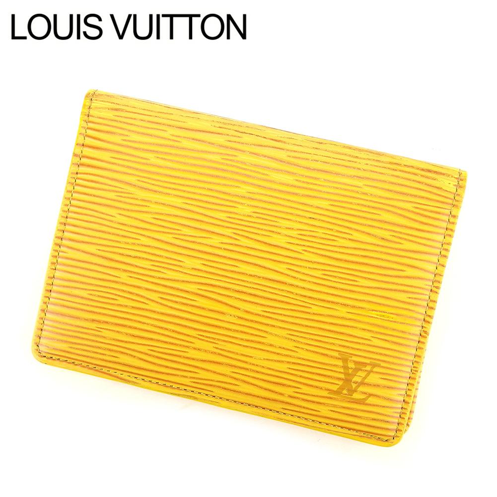 【中古】 ルイ ヴィトン LOUIS VUITTON 定期入れ パスケース メンズ可 エピ イエロー レザ-定期入れ E1249s .