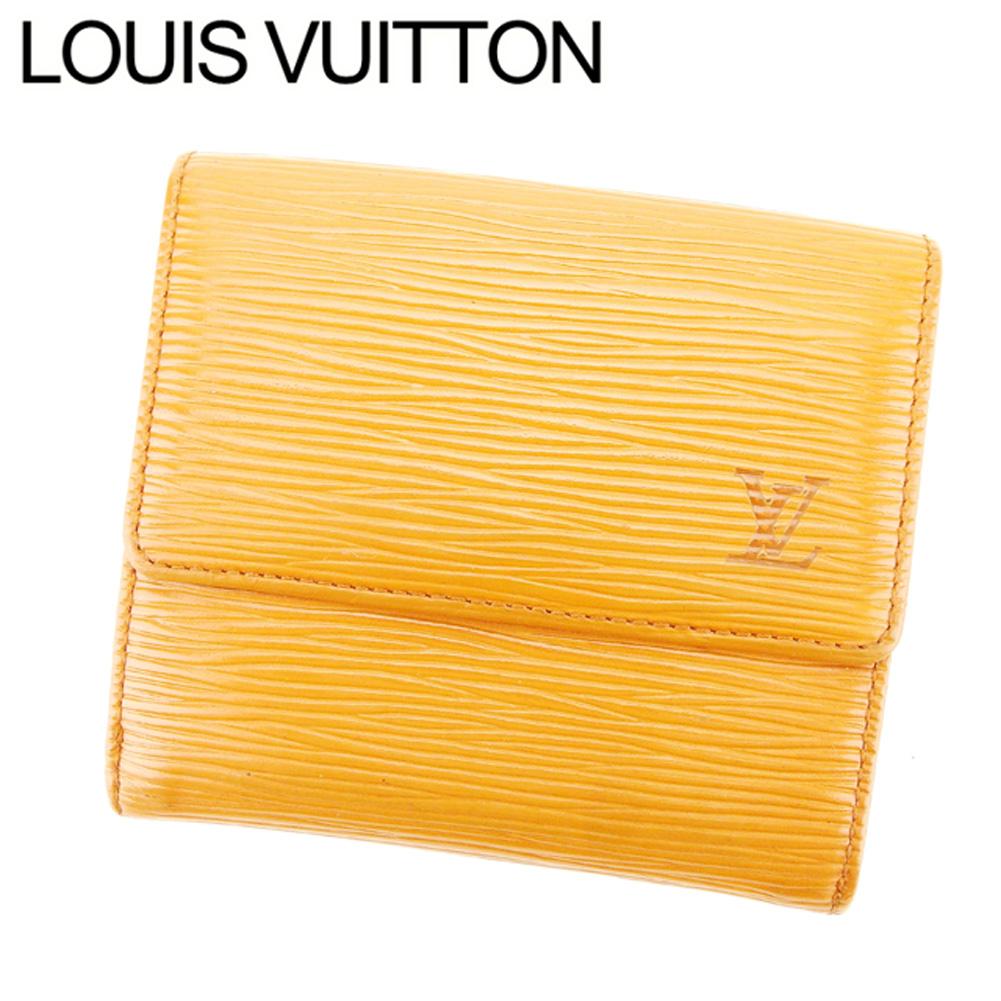 【中古】 ルイ ヴィトン Louis Vuitton Wホック 財布 三つ折り メンズ可 ポルトモネビエカルトクレディ エピ ケニアブラウン エピレザー 廃盤 人気 F1334 .