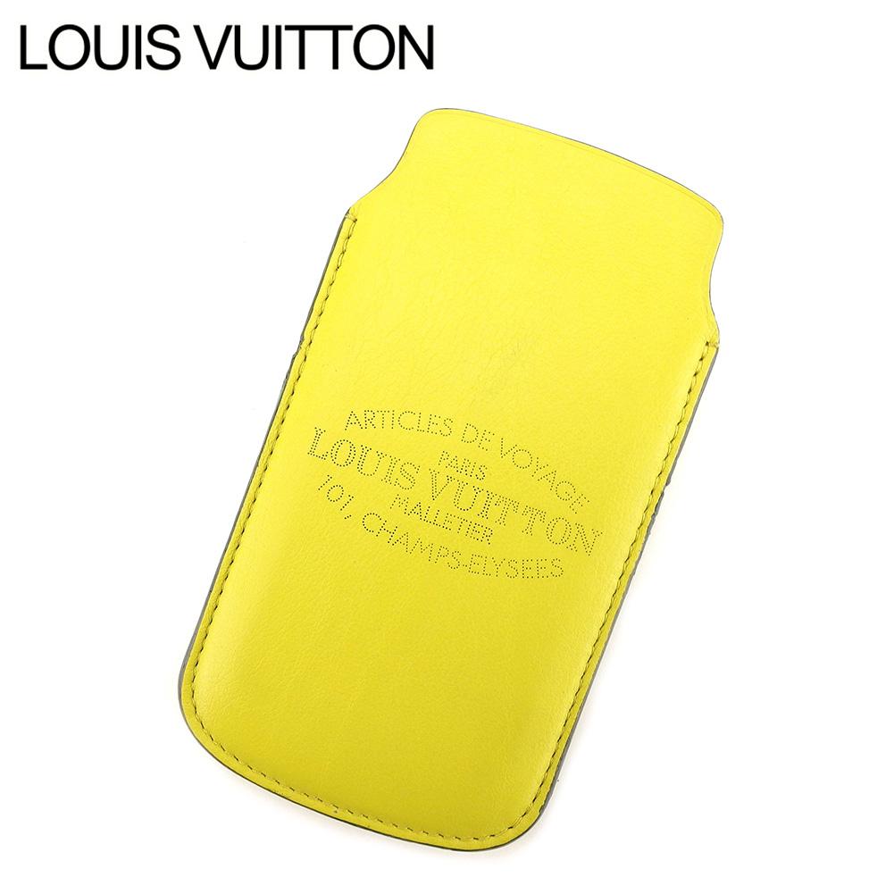 【中古】 ルイ ヴィトン LOUIS VUITTON スマートフォンケース スマホケース レディース メンズ 可 シャンゼリゼ本店 101周年記念 イエロー レザー 人気 セール P728