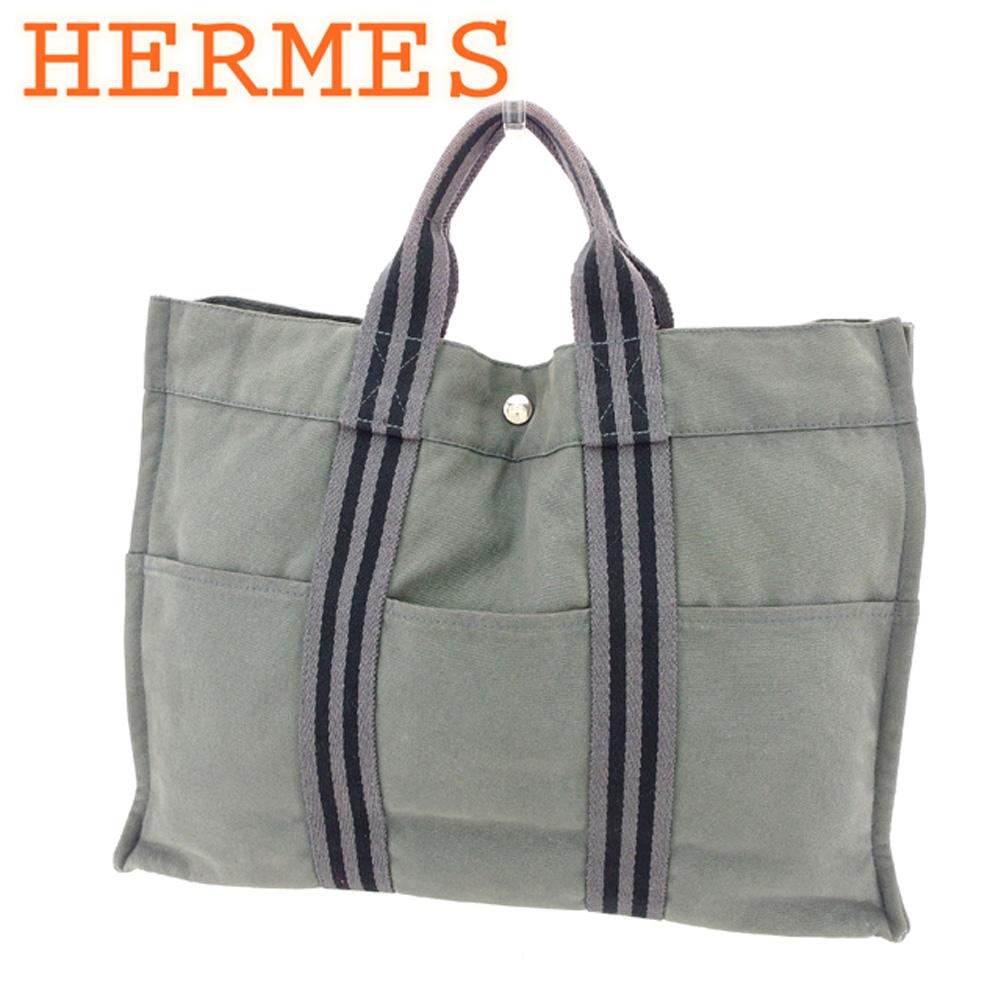 fc916a98e7e Hermes HERMES tote bag handbag lady s men s possible Thoth MM fool toe gray  gray black silver cotton canvas popularity sale P754