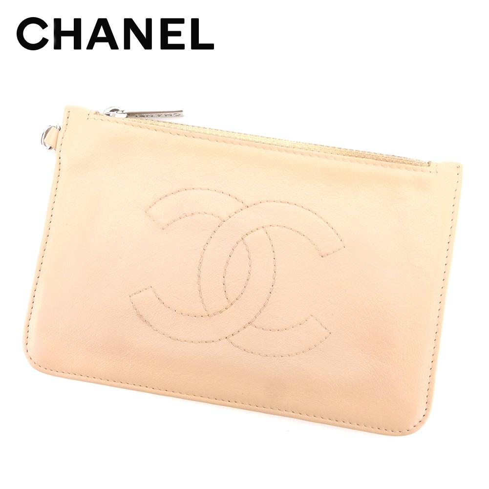 【中古】 【送料無料】 シャネル ポーチ 化粧ポーチ レディース メンズ 可 ココマーク ベージュ レザー Chanel T4264 .