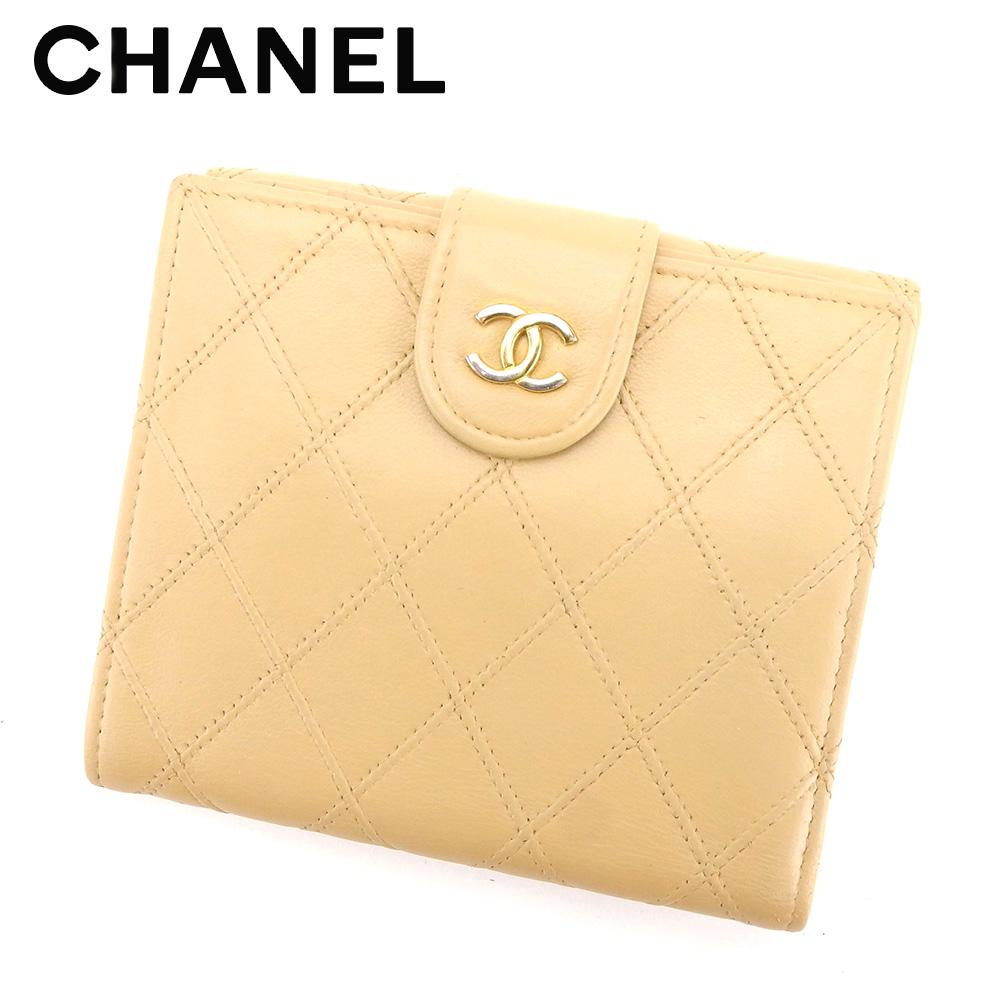 【中古】 シャネル CHANEL Wホック 財布 二つ折り 財布 レディース メンズ 可 ビコローレ ベージュ レザーWホック 財布 T4276s .