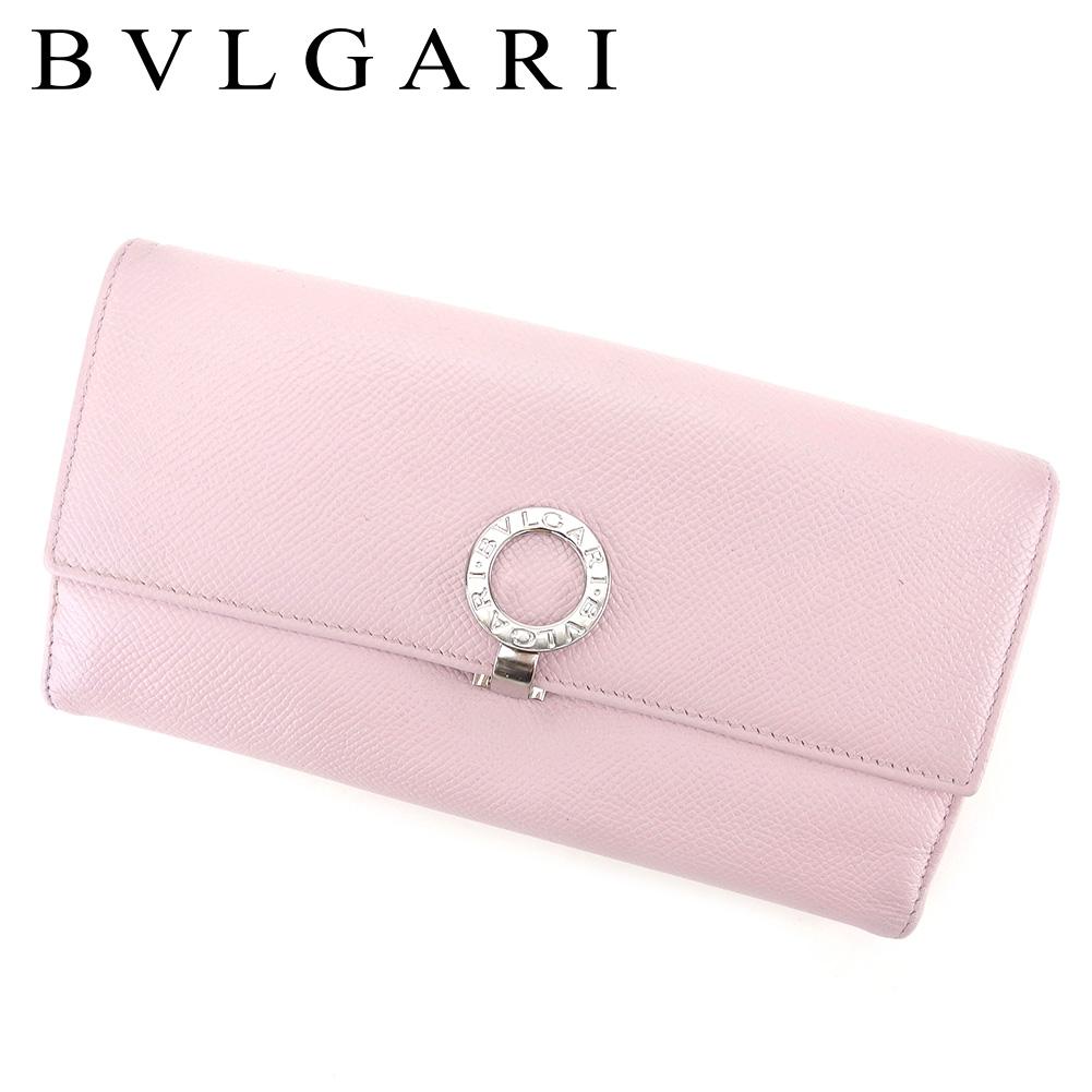 お買得 夏 プレゼント 中古 ブルガリ 長財布 Wホック T4670 日本正規品 BVLGARI ピンク レザー