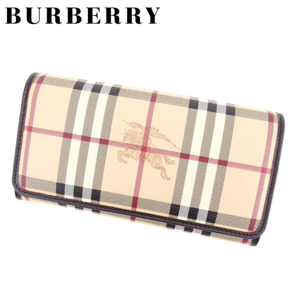 【中古】 バーバリー BURBERRY 長財布 二つ折り 財布 メンズ可 ノバチェック ベージュ ブラウン PVC×レザー 未使用品 セール T7376