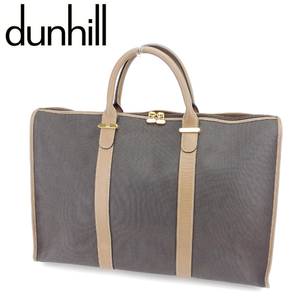 【中古】 ダンヒル dunhill ボストンバッグ ビジネスバッグ メンズ可 グレー 灰色 ブラウン PVC×レザーボストンバッグ T7381s .