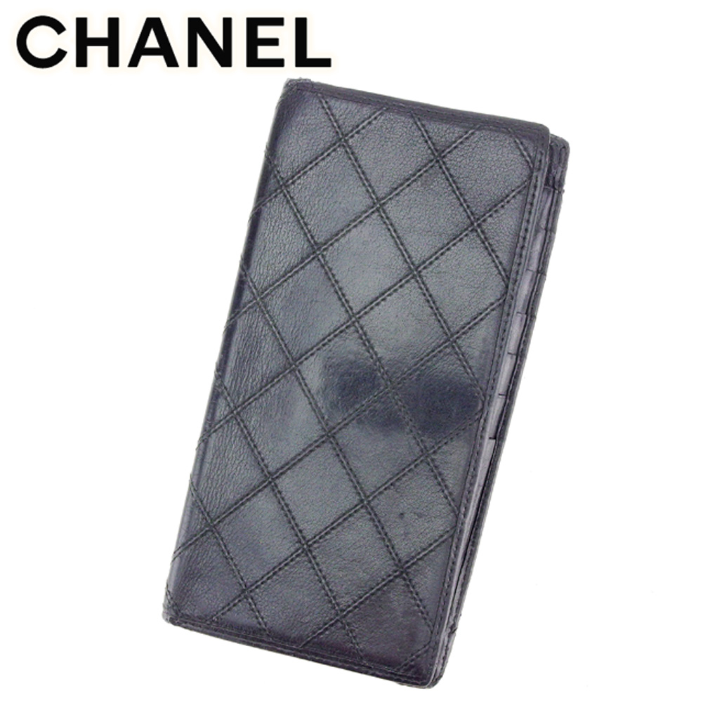 c9537edbf60c 【中古】 シャネル CHANEL 二つ折り 札入れ 長財布 メンズ可 ビコローレ ブラック レザー 人気