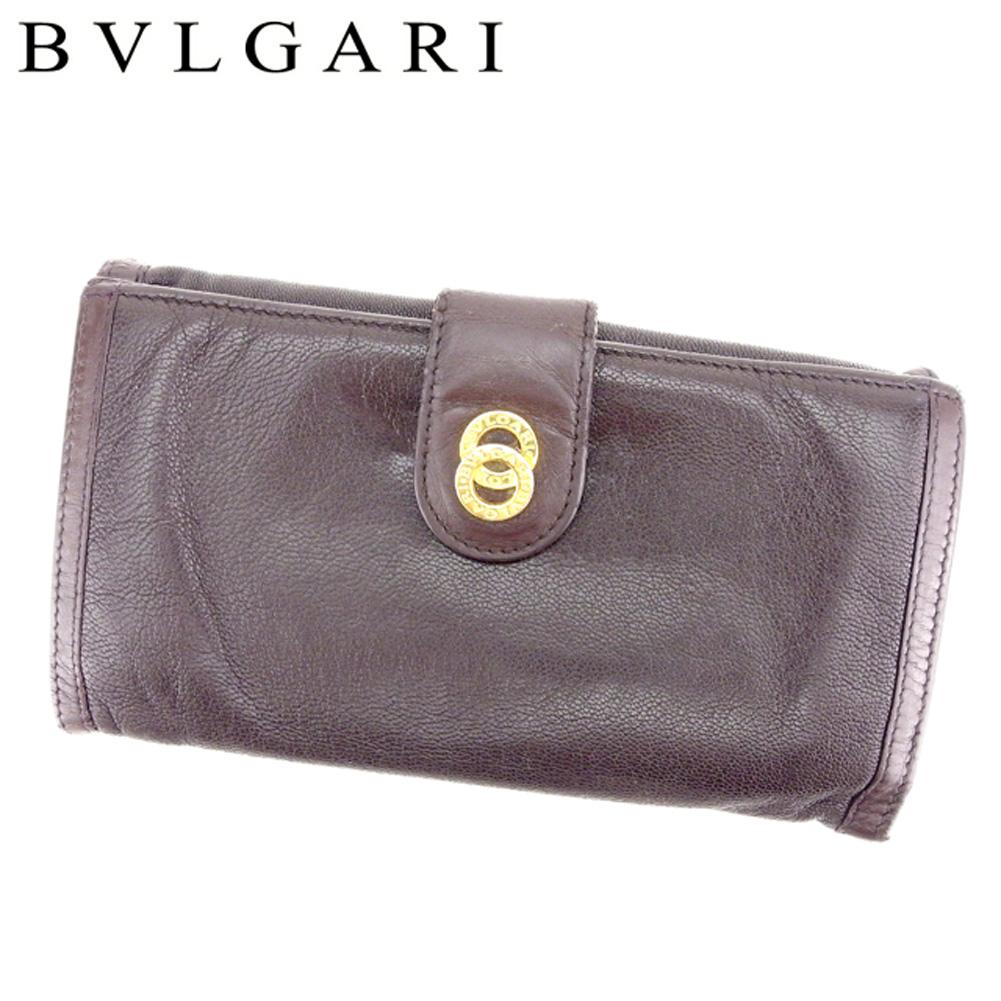 【中古】 ブルガリ BVLGARI 長財布 二つ折り 財布 メンズ可 ドッピオトンド ブラウン ゴールド レザー 人気 セール T7385 .
