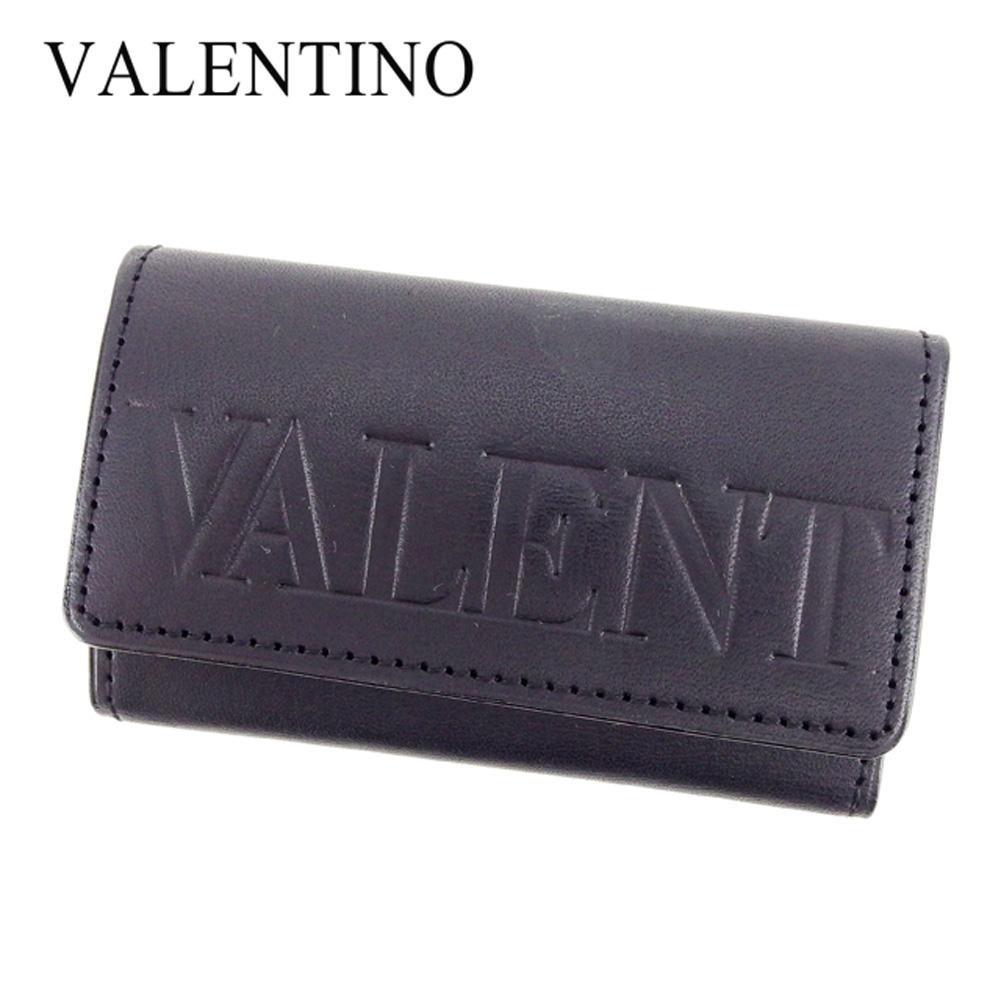 【中古】 ヴァレンティノガラヴァーニ VALENTINO GARAVANI キーケース 4連キーケース メンズ可  ブラック レザー 美品 セール T7393 .