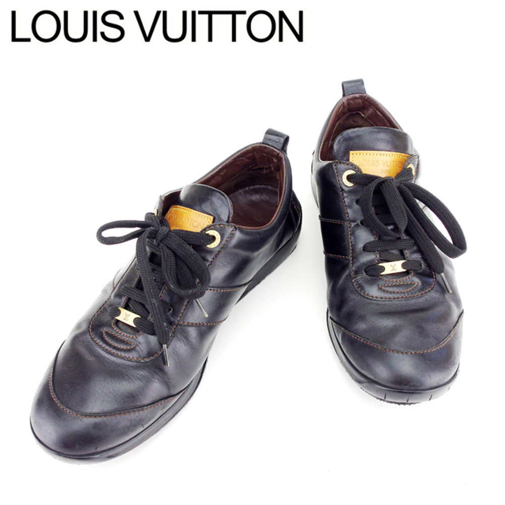 Louis Vuitton Louis Vuitton Sneakers 8 Shoes Men Black Leather Popularity Sale T7396