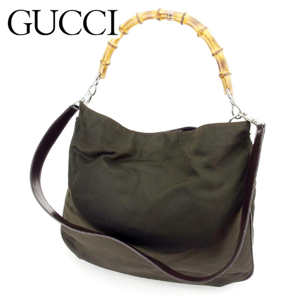6c1bfbc3833 Gucci GUCCI handbag shoulder bag men's possible bamboo canvas X leather  popularity sale T7397 ...