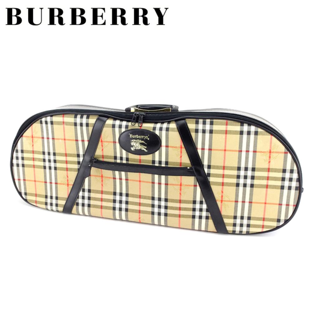29e3805641 【中古】 バーバリー BURBERRY バイオリンケース 楽器ケース メンズ可 ノバチェック ベージュ ブラック キャンバス×レザー 人気 良品  T7401 . ...