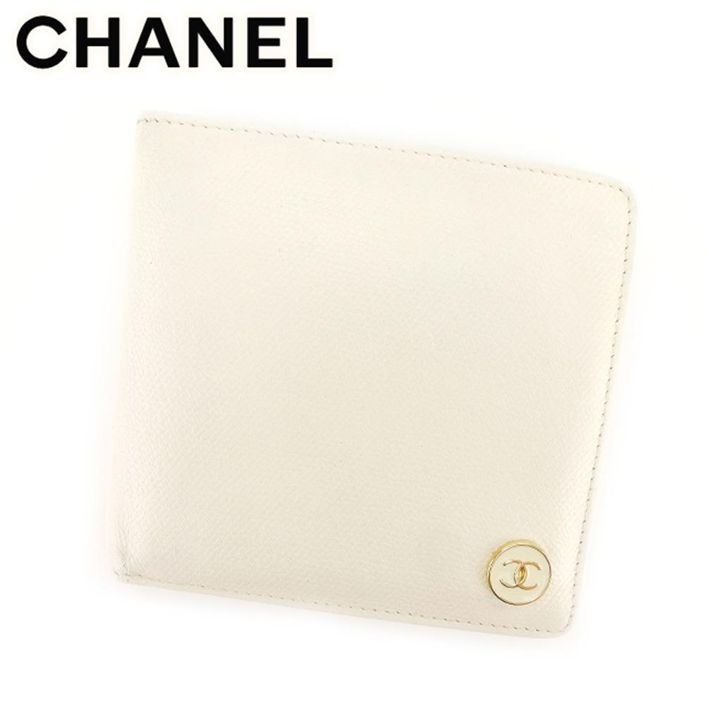 【中古】 シャネル CHANEL 二つ折り 財布 メンズ可 ココボタン ホワイト 白 ベージュ レザー ヴィンテージ 人気 T7507 .