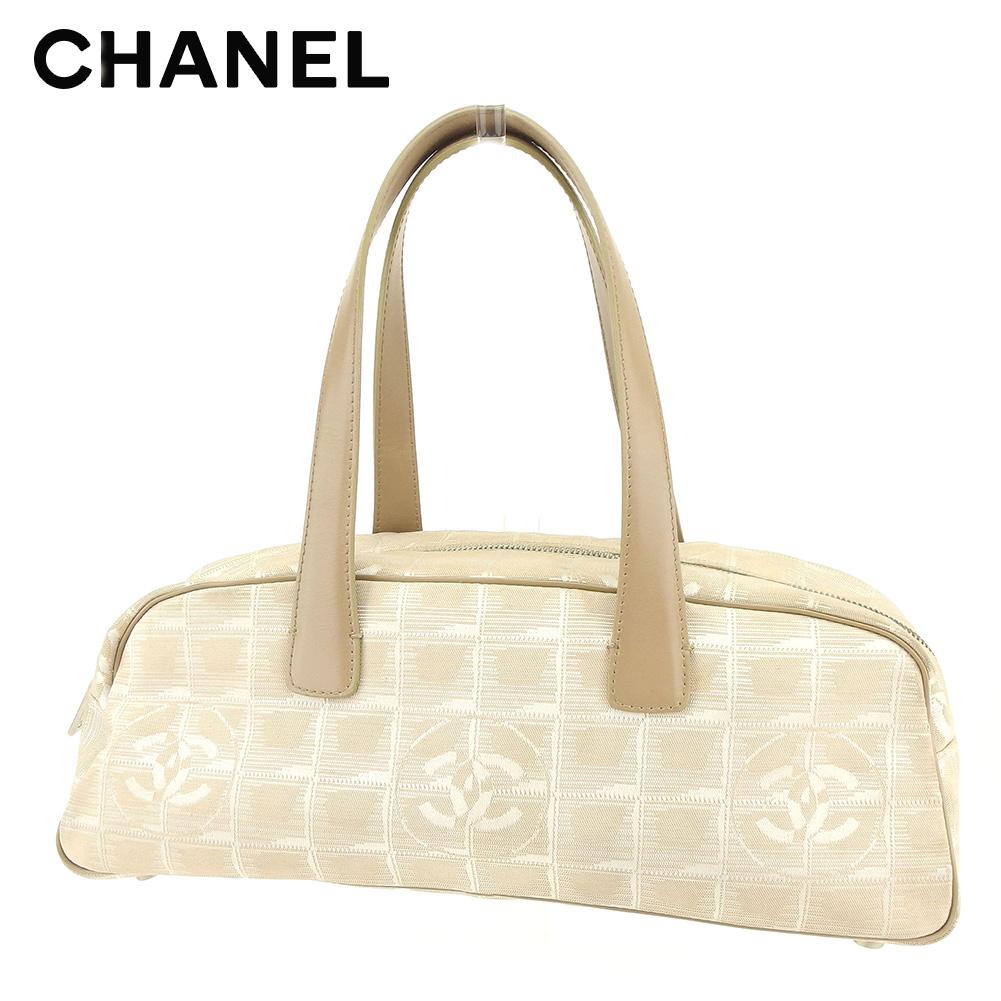 bcf8904ebfa7a2 Chanel CHANEL handbag mini-Boston bag Lady's current style bell line beige  canvas X leather ...