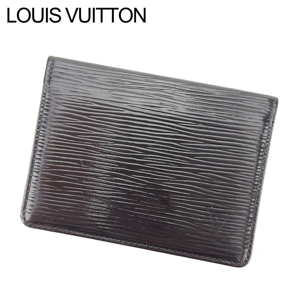 【中古】 ルイ ヴィトン LOUIS VUITTON 定期入れ パスケース レディース メンズ 可 エピ ブラック PVC×レザ-定期入れ T7568s .