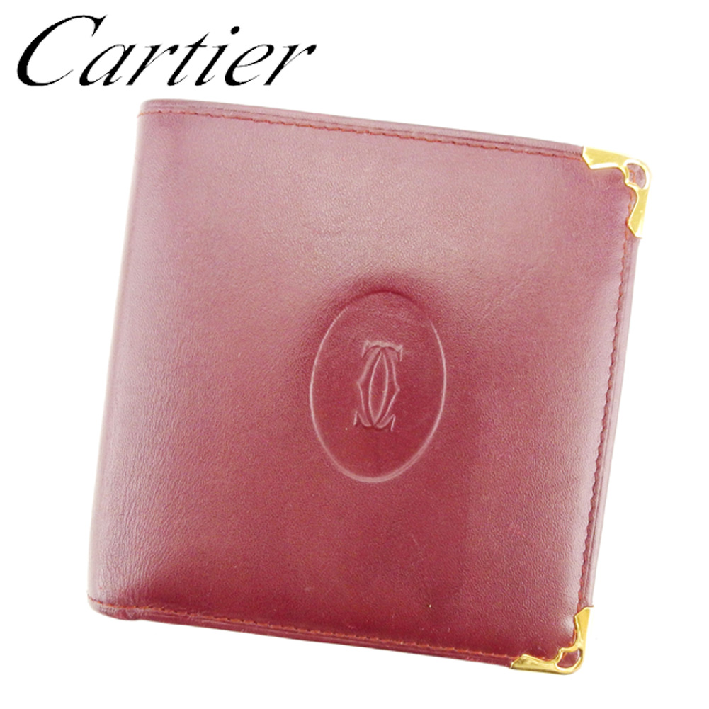 ce6e5cf614f0 レディース 財布 二つ折り Cartier カルティエ 【中古】 メンズ T7577 セール 人気 レザー ゴールド ボルドー マストライン 可-その他