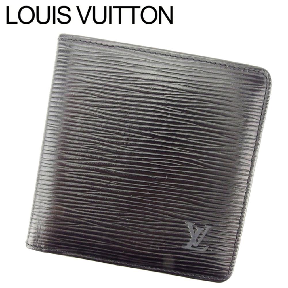 【中古】 ルイ ヴィトン Louis Vuitton 二つ折り 札入れ メンズ ポルトビエ6カルトクレディ エピ ブラック エピレザー 人気 良品 T7586