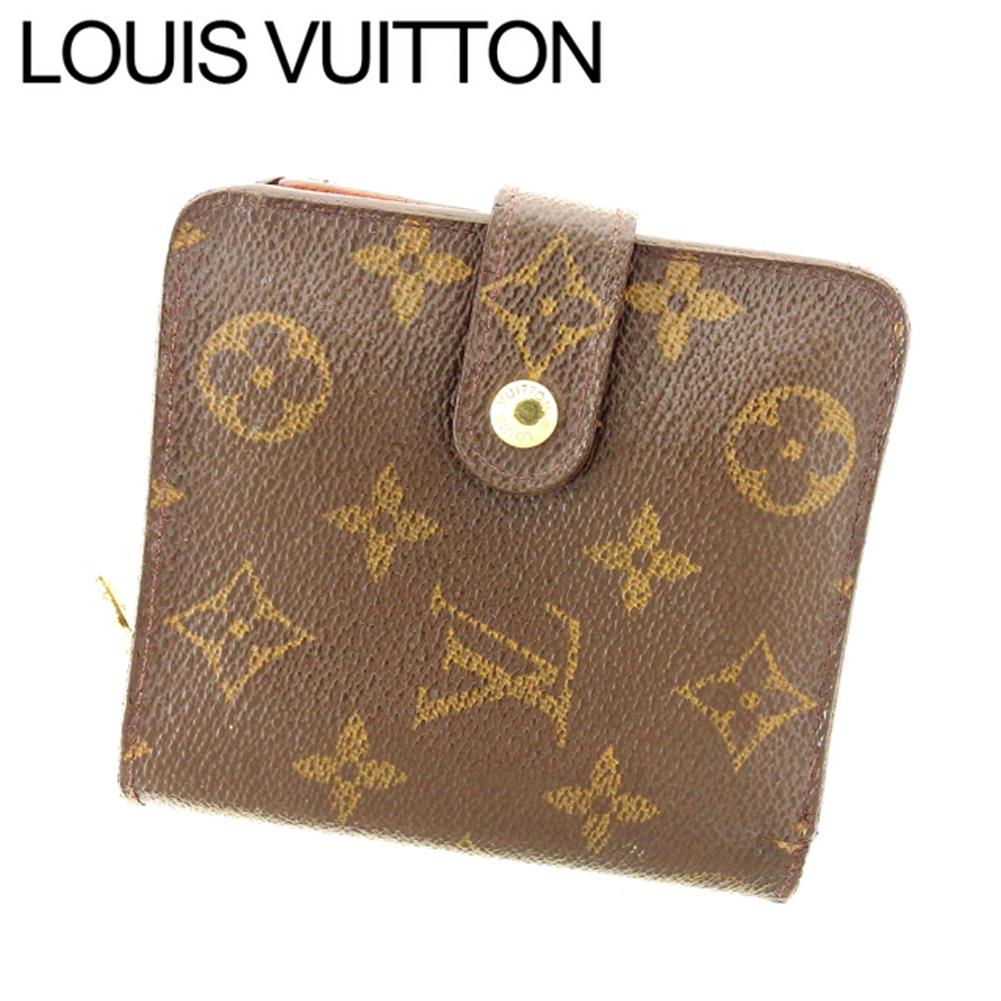 【中古】 ルイ ヴィトン Louis Vuitton 二つ折り 財布 ラウンドファスナー メンズ可 コンパクトジップ モノグラム ブラウン ベージュ ゴールド モノグラムキャンバス 人気 セール T7597 .