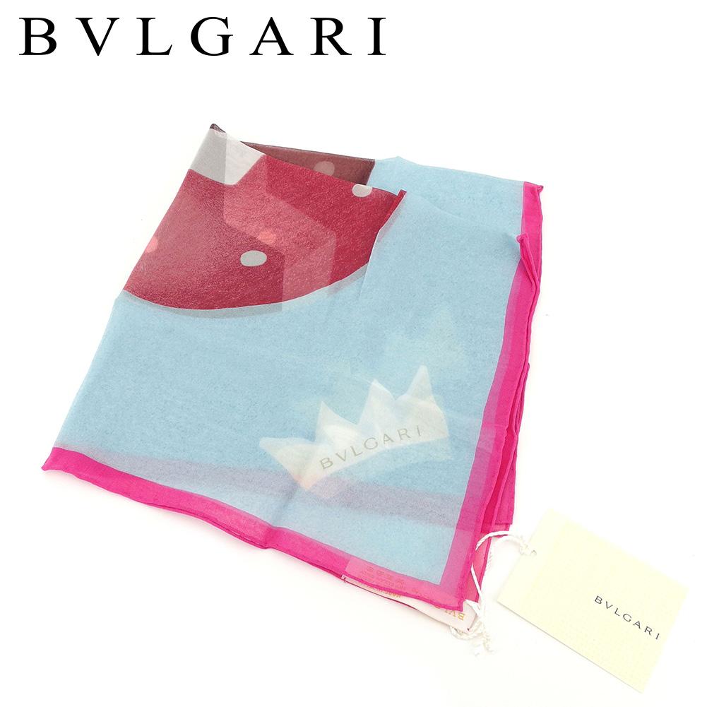 【中古】 ブルガリ BVLGARI スカーフ ミニスカーフ レディース  ブルー ピンク SILK/100% 未使用品 セール T8273 .
