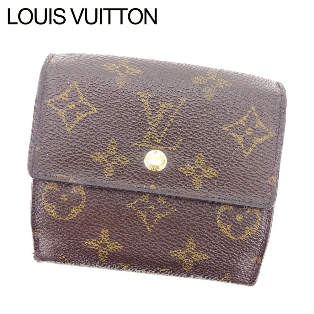【中古】 ルイ ヴィトン LOUIS VUITTON Wホック財布 三つ折り レディース メンズ 可 モノグラム ブラウン モノグラムキャンバスWホック財布 T8285s .