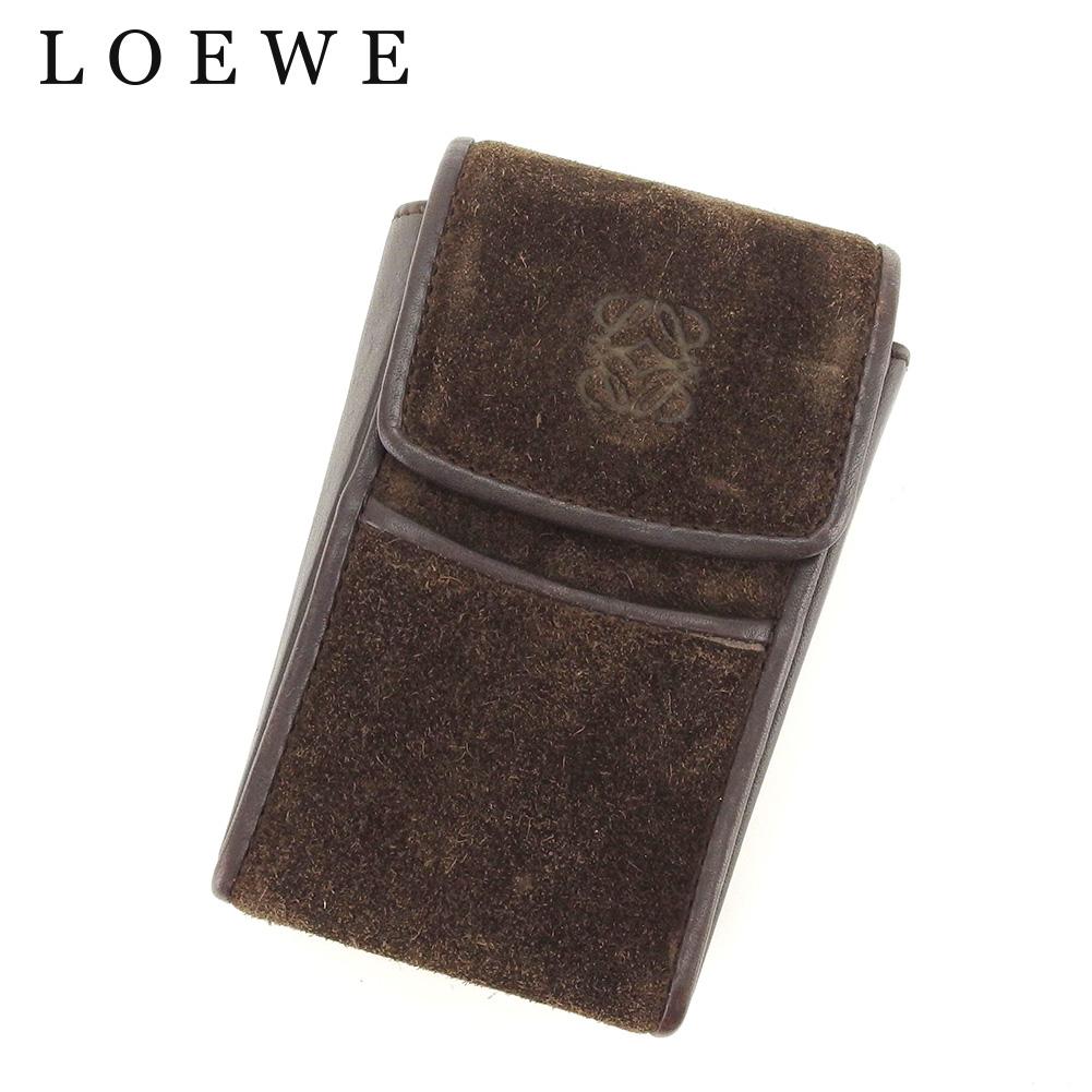 【中古】 ロエベ LOEWE シガレットケース 小物入れ レディース メンズ アナグラム ブラウン スエード×レザー 人気 セール C3326