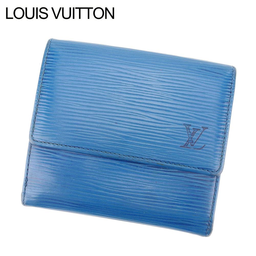 【中古】 ルイ ヴィトン Louis Vuitton Wホック 財布 二つ折り 財布 レディース メンズ ポルトモネ・ビエ・カルトクレディ エピ ブルー PVC×レザー 廃盤 人気 C3339 .