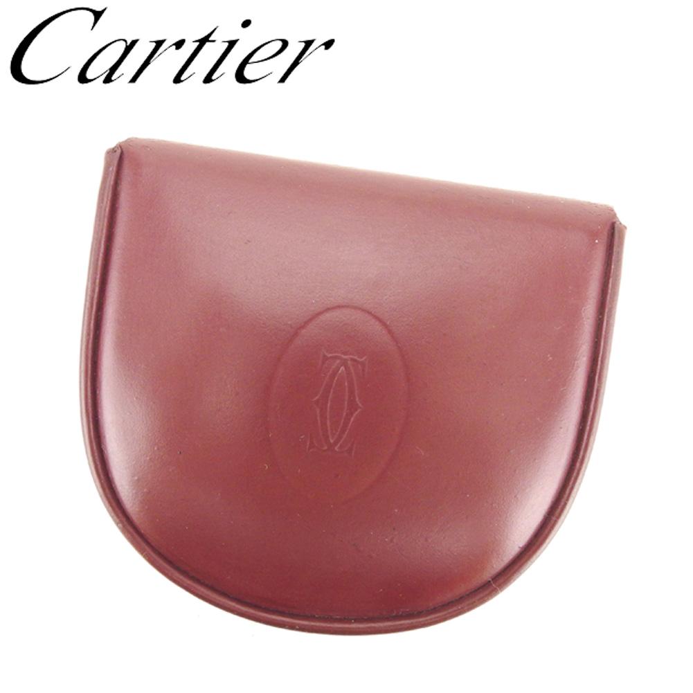 【中古】 カルティエ Cartier コインケース 小銭入れ レディース メンズ マストライン ボルドー レザー 人気 セール G1272 .