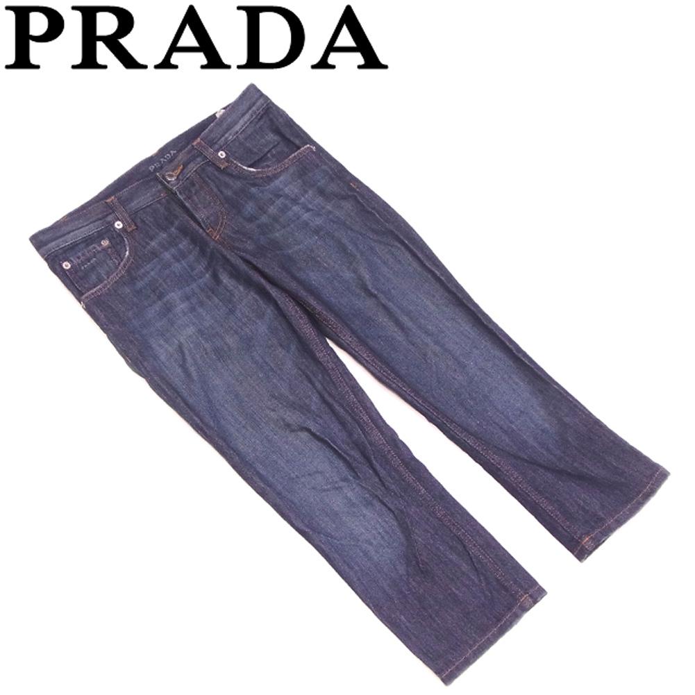 【中古】 プラダ PRADA ジーンズ ストレートフィット レディース ♯25サイズ デニム ネイビー コットン 綿 人気 セール G1305