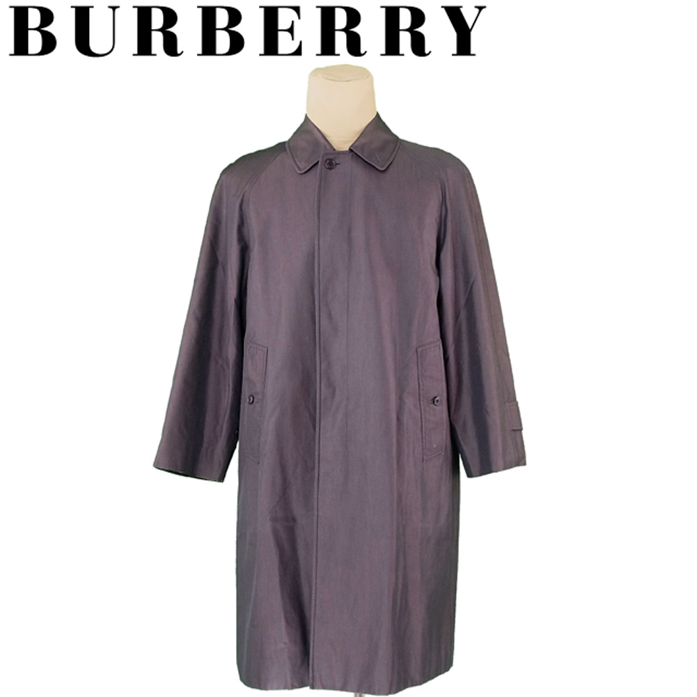 【中古】 バーバリー BURBERRY コート ロング メンズ シングル ステンカラー グレー 灰色 コットン 綿 訳あり セール G1312 .